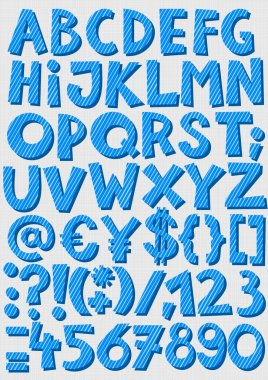 Blue striped letters and numbers on light patterned background baby boy alphabet set