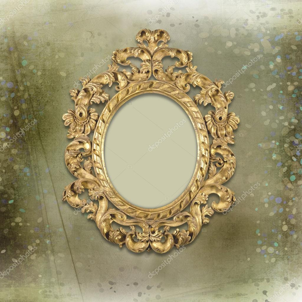 Old Gold Frames Victorian Style On The Background Stock Photo