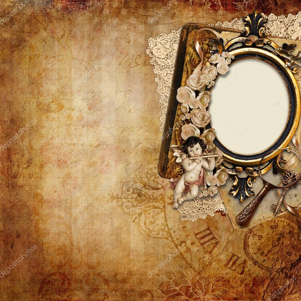 Fondo vintage con marco y Ángel — Fotos de Stock © glaz #12141367