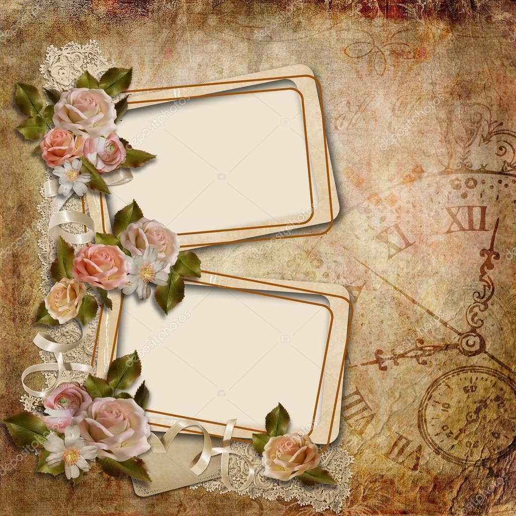 Vintage background with frames and roses stock photo for Cornici vintage