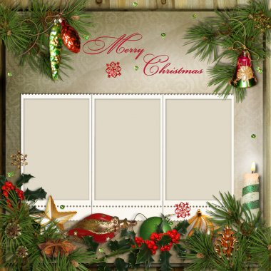 Christmas greeting card with frames for a family