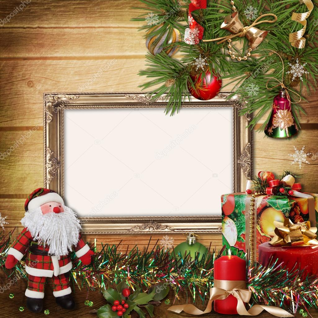 tarjeta de felicitación de Navidad con marcos para una familia ...