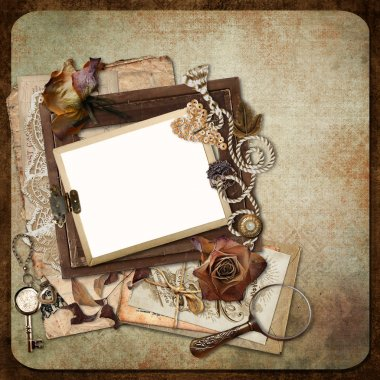 Vintage background with old frames, letters and cards