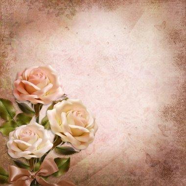 Bouquet of roses on a vintage background