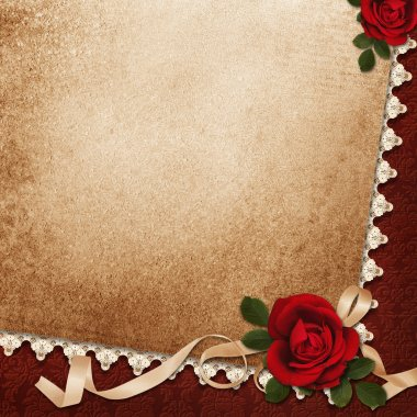 Vintage background with roses, lace and ribbon