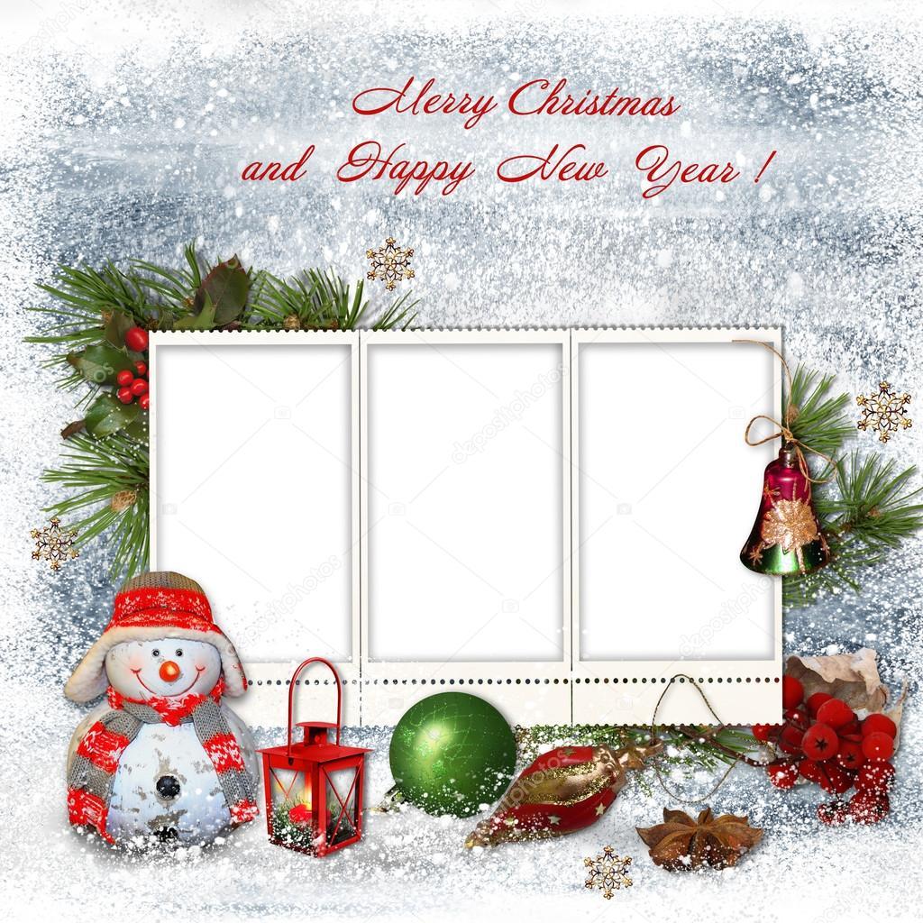 Auguri Di Natale Famiglia.Biglietto Di Auguri Di Natale Con Cornici Per Una Famiglia Foto