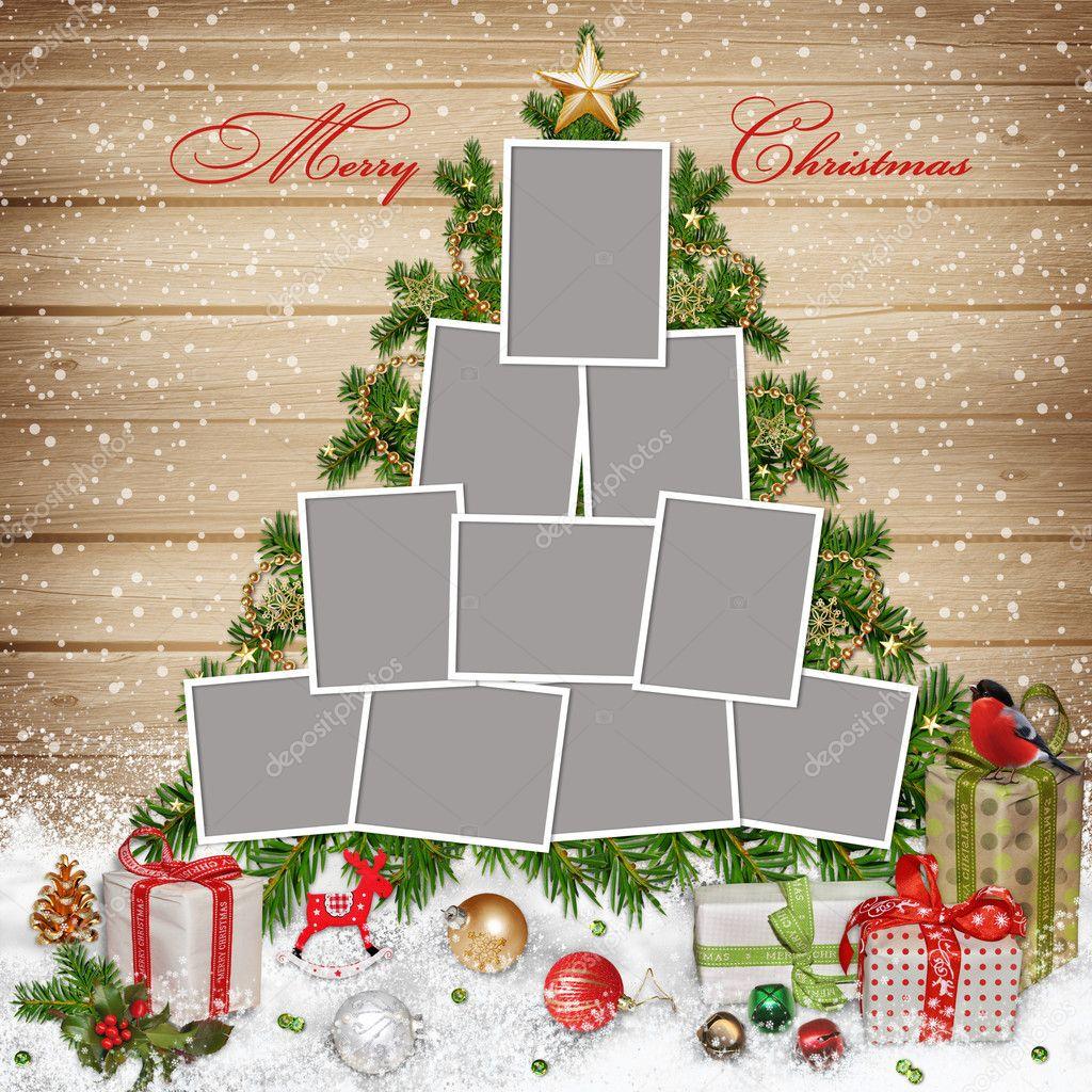 Marcos para la familia, adornos navideños y regalos sobre fondo de ...