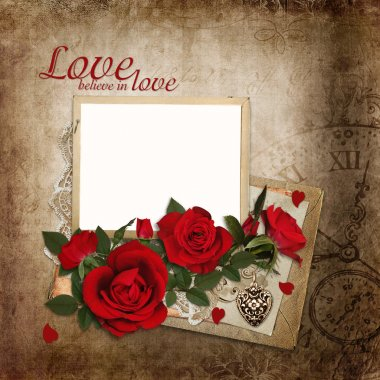 Bouquet of red roses with frame and old letters on vintage background