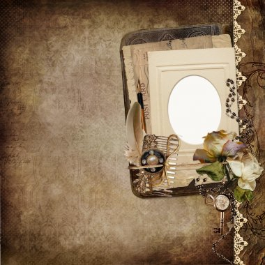 Vintage shabby background with frame, faded roses, old letters
