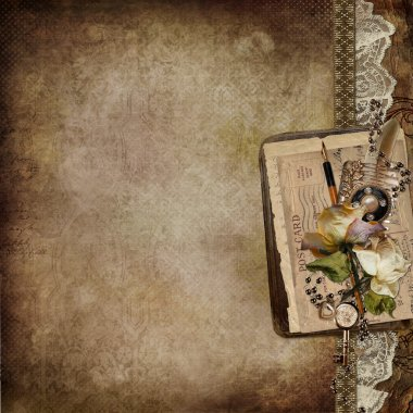 Vintage background with faded roses, lace, old letters