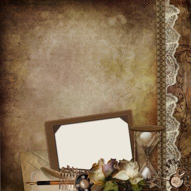 Vintage background with frame, faded roses, hourglass and retro decor