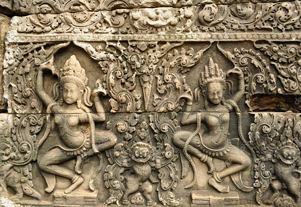 Apsara carved on the wall of angkor wat cambodia — stock