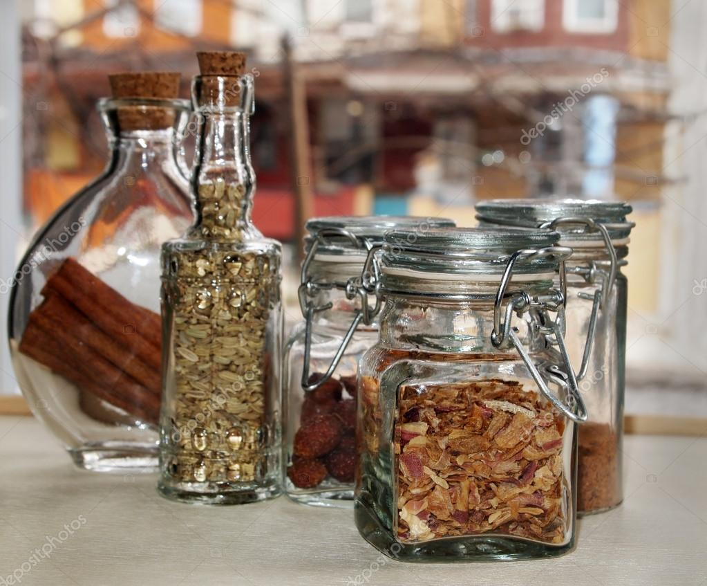Pretty Jars With Dried Herbs