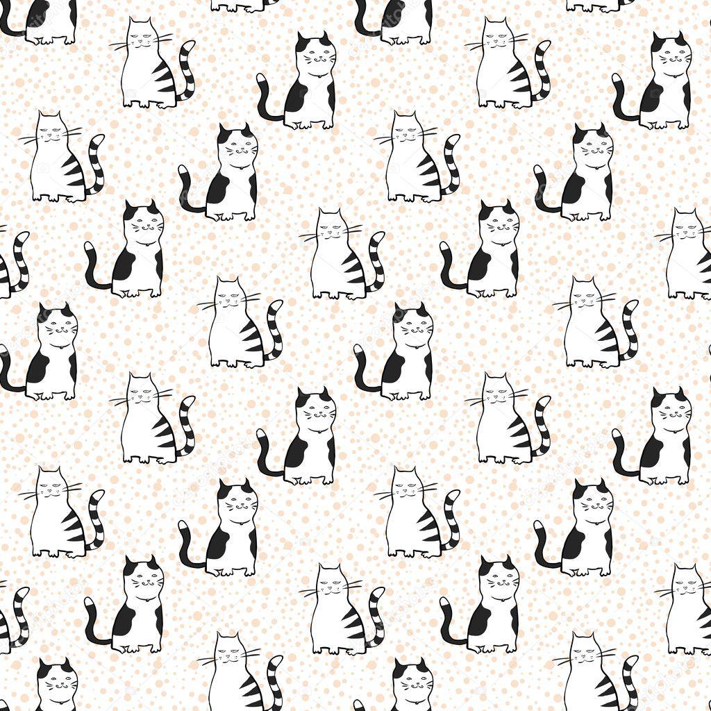 patrón sin costuras Vector con rayados gatos — Archivo Imágenes ...