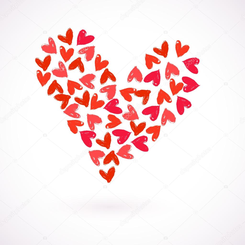 Vector card with many watercolour painted hearts — Stock Vector ...