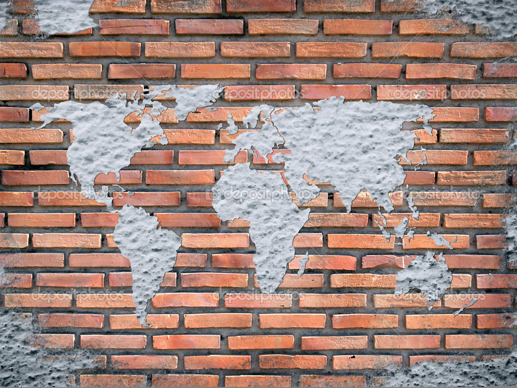 Grunge concrete world map on old brick wall stock photo grunge concrete world map on old brick wall stock photo gumiabroncs Image collections