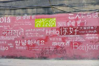 Welcome board with greeting on foreign languages,bangkok thailand