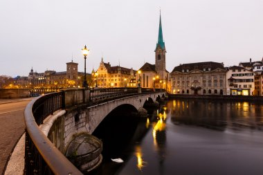 View of Zurich and Old City Center Reflecting in the river Limma