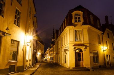 Old Street of Tallinn in the Night, Estonia