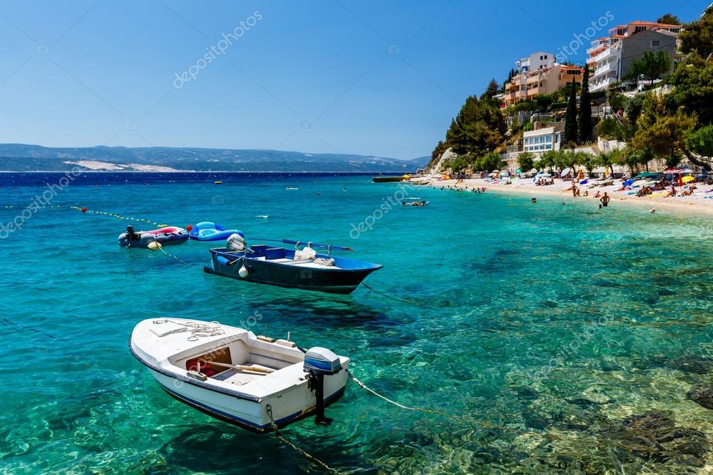Motor Boats in a Quiet Bay near Split, Croatia