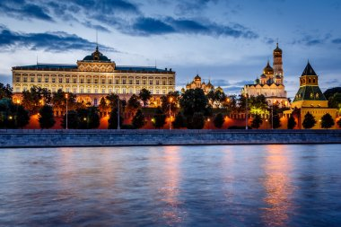 Moscow Kremlin and Moscow River Illuminated in the Evening, Russ