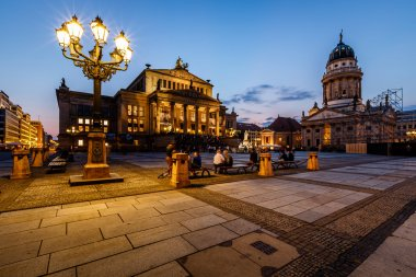French Cathedral and Concert Hall on Gendarmenmarkt Square at Ni