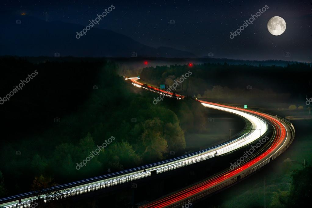 Long Exposure of Car Lights on Motorway