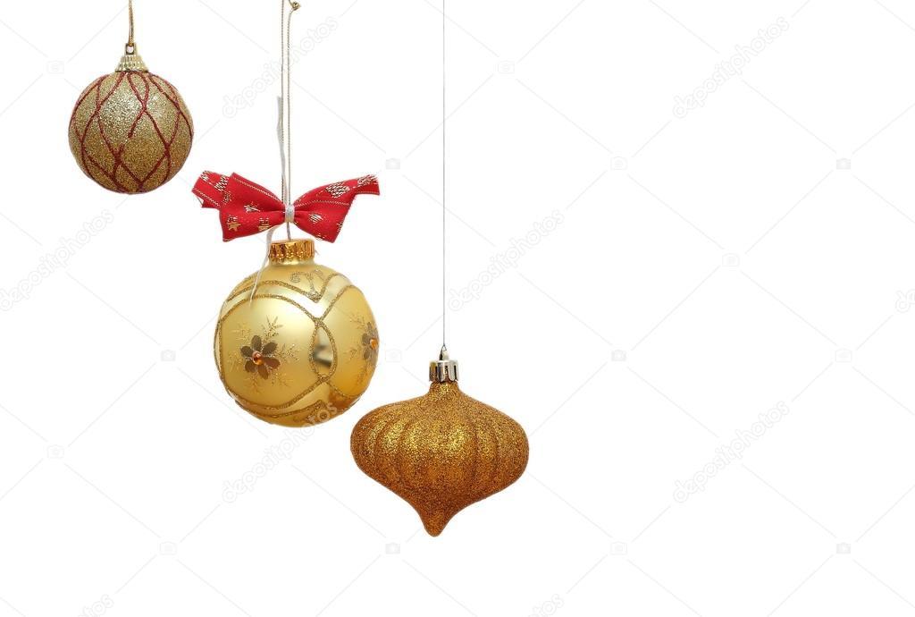 Goldene Weihnachtskugeln.Goldene Weihnachtskugeln Stockfoto Taviphoto 15705811