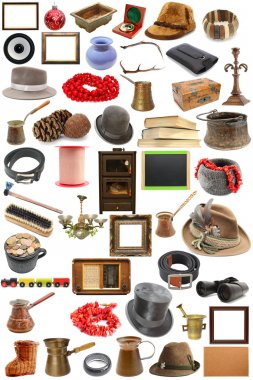 Big collection of vintage objects over white background stock vector