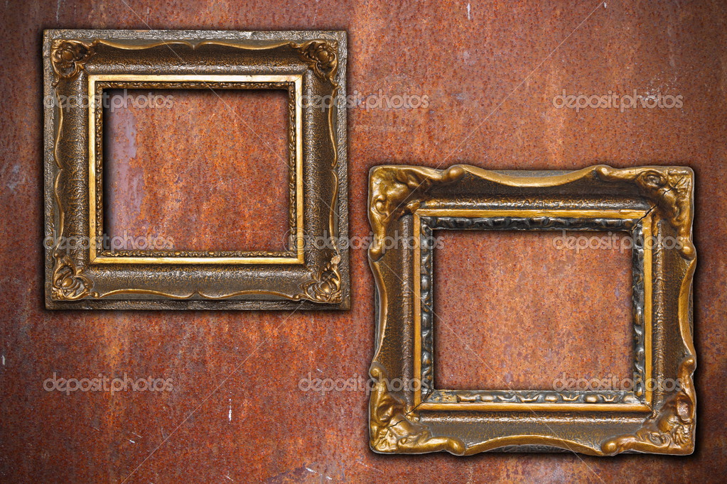 dos cuadros antiguos de pared de metal oxidada — Foto de stock ...