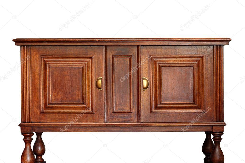 Muebles antiguos de madera sobre blanco foto de stock for Stock de muebles