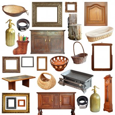 Collage with a large number of old vintage objects isolated over white background stock vector
