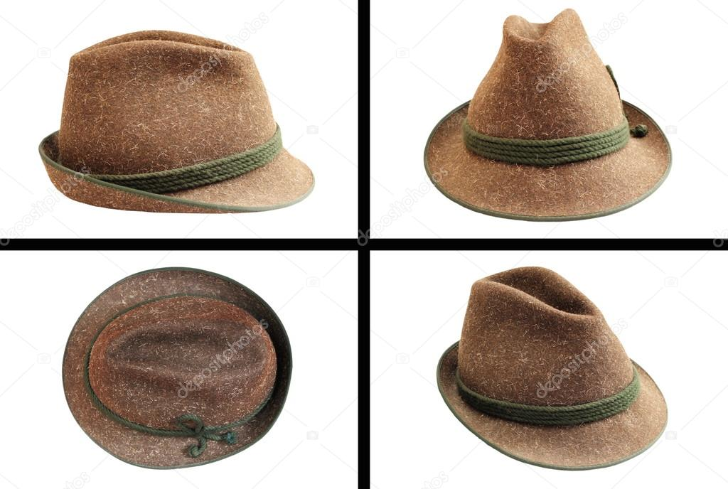 Cappello di lana tradizionale caccia in quattro viste isolato su bianco per  il vostro disegno — Foto di taviphoto 5e28b9e4298c