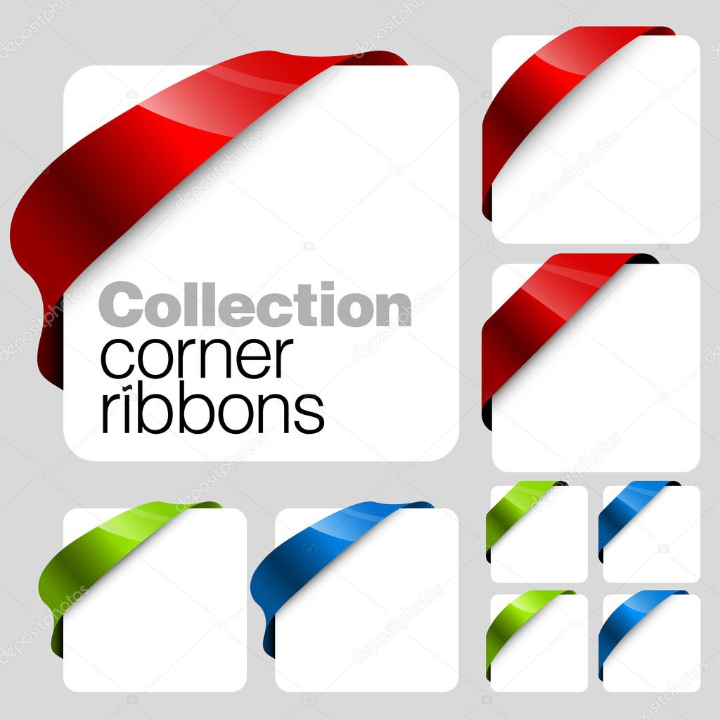 Collection of Vector corner ribbons