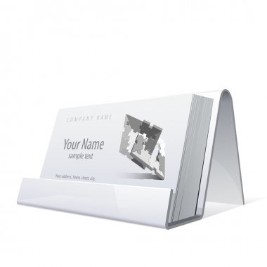 White Glossy holder for business cards. Vector Illustration