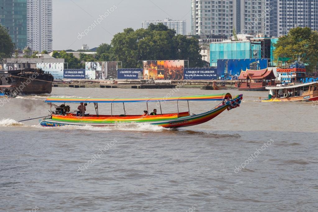 BANGKOK, THAILAND - NOVEMBER 10 : typical long tail boat down Ch