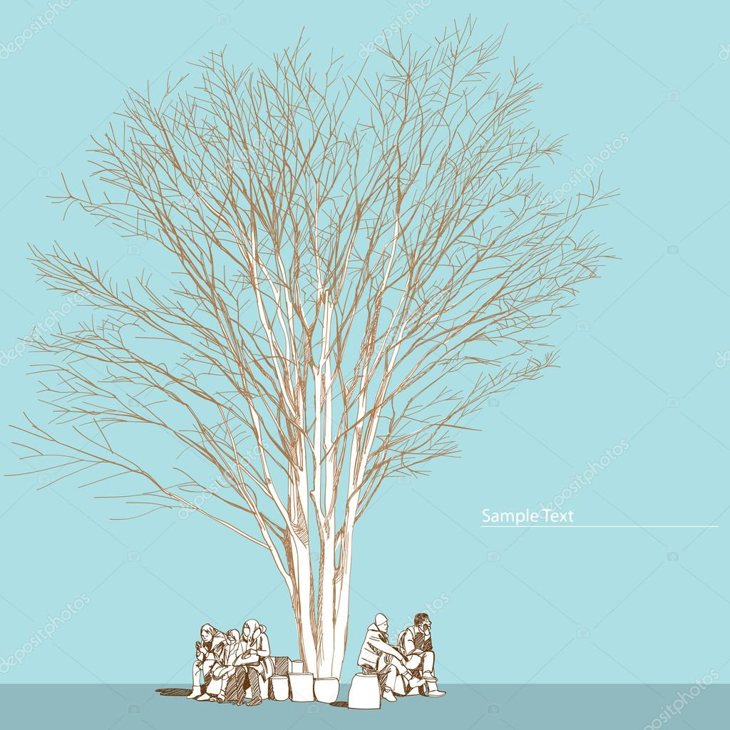 Large bare tree without leaves and people Hand drawn