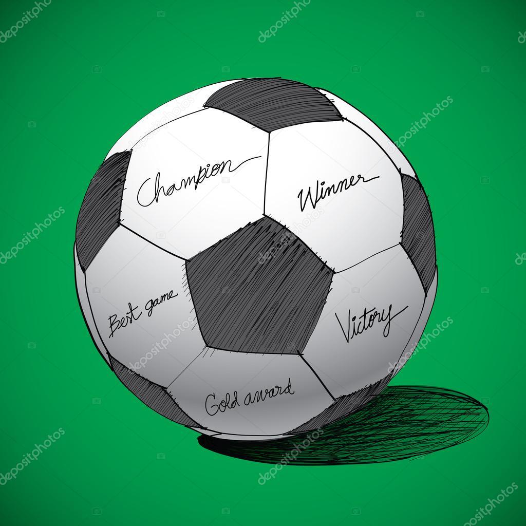 a91eb229ca mão de bola de futebol desenhado — Vetores de Stock © tieataopoon ...