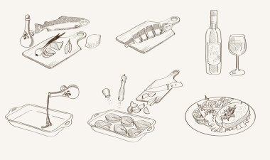 Vector process fish cooking sketch