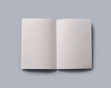 open blank book with clipping path
