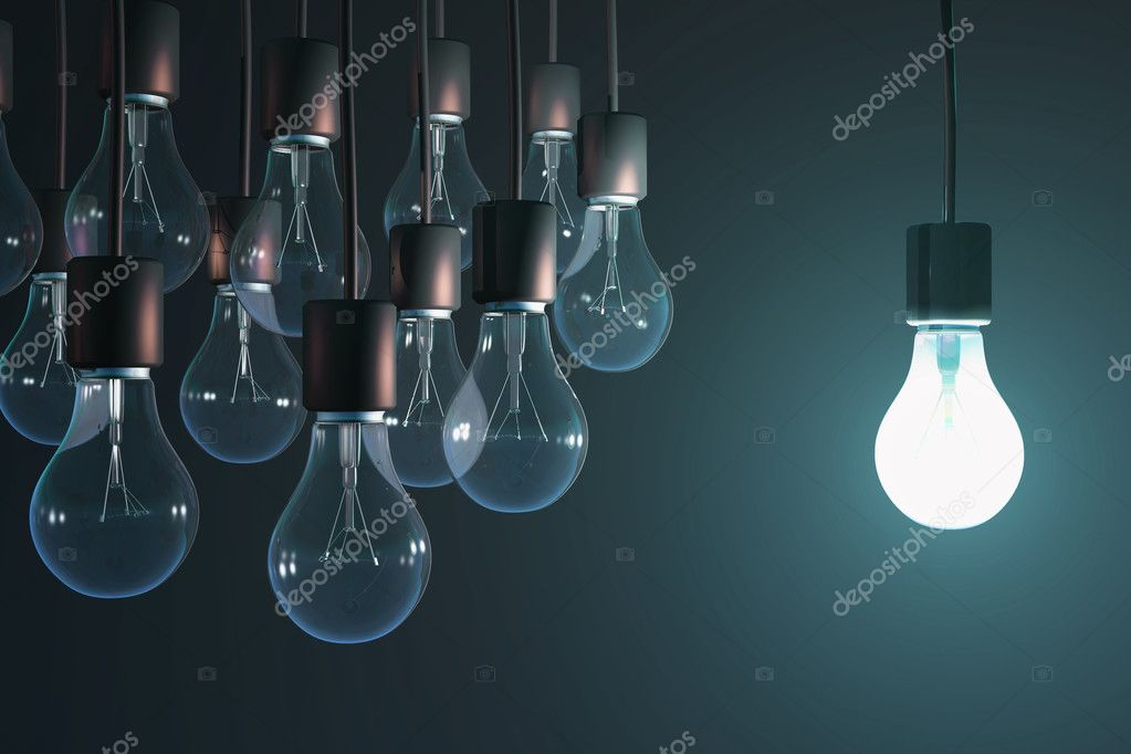glowing bulb among the gray