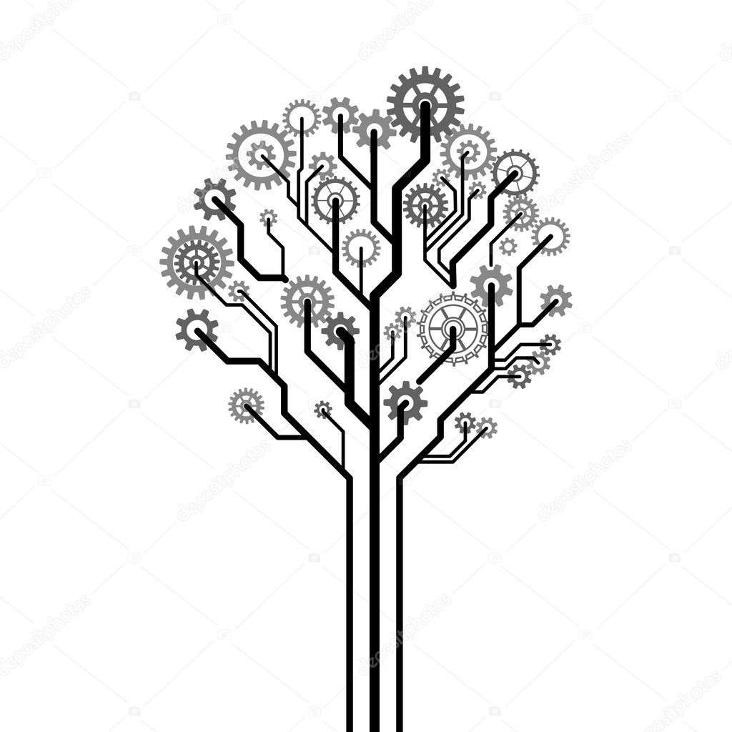 Tree made of gear wheels. A vector illustration