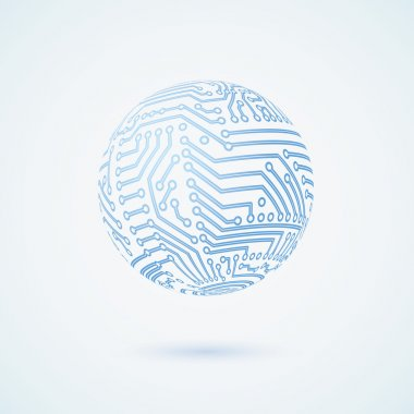 Vector circuit board sphere. Business concept.