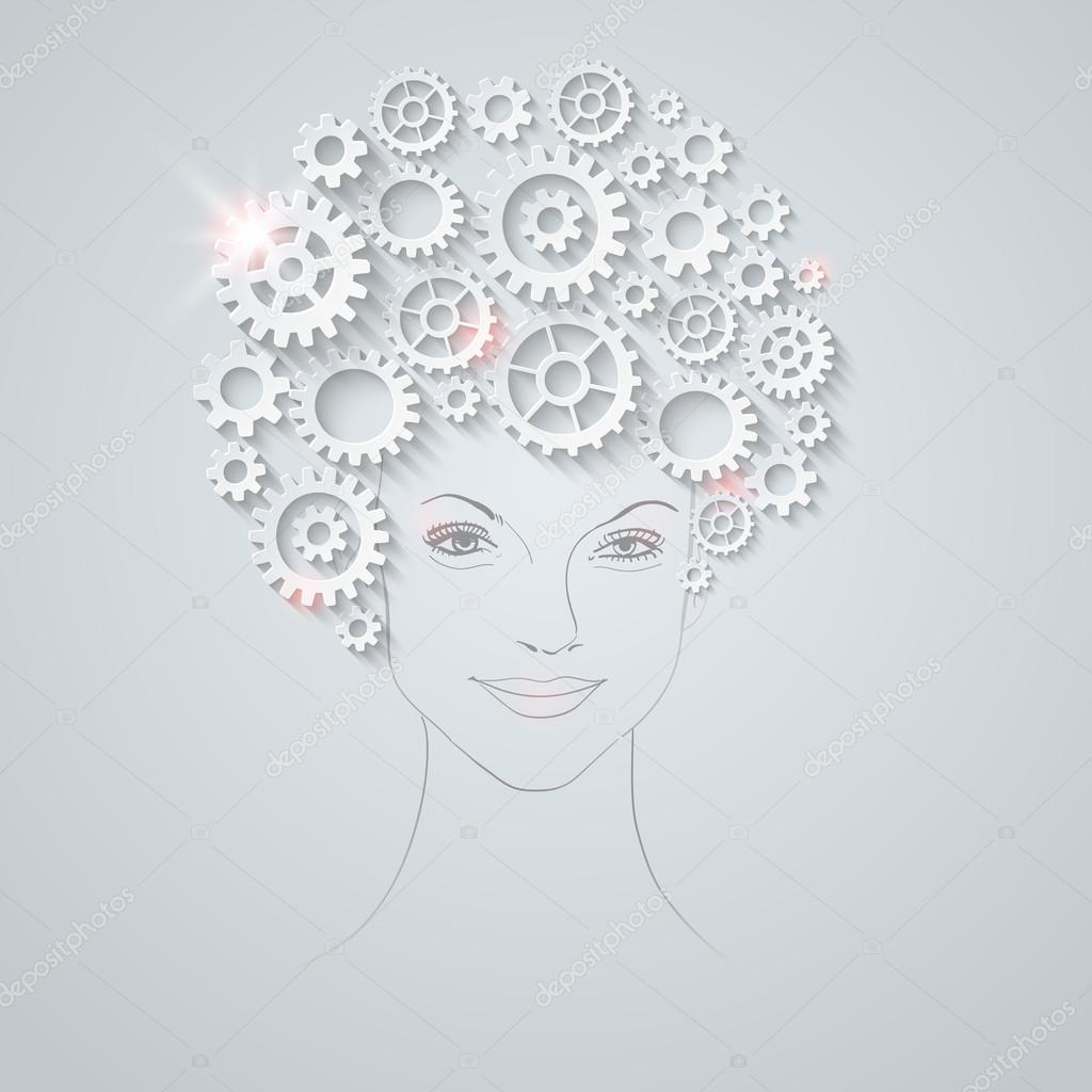 Vector futuristic woman portrait. Unusual hairstyle made of gears.
