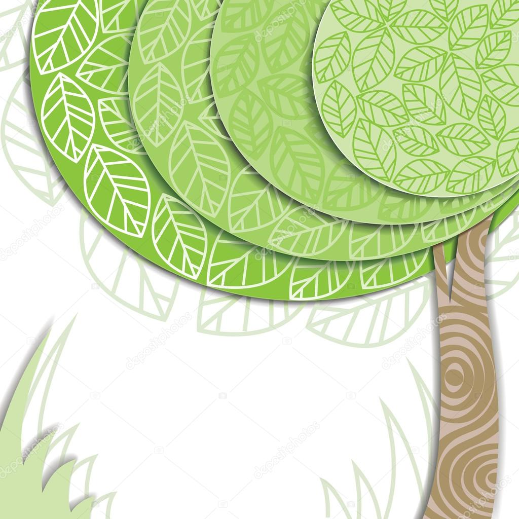 Vector stylized green tree