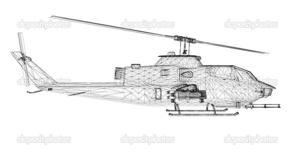 helicóptero militar — Fotos de Stock © Podsolnukh #44271859