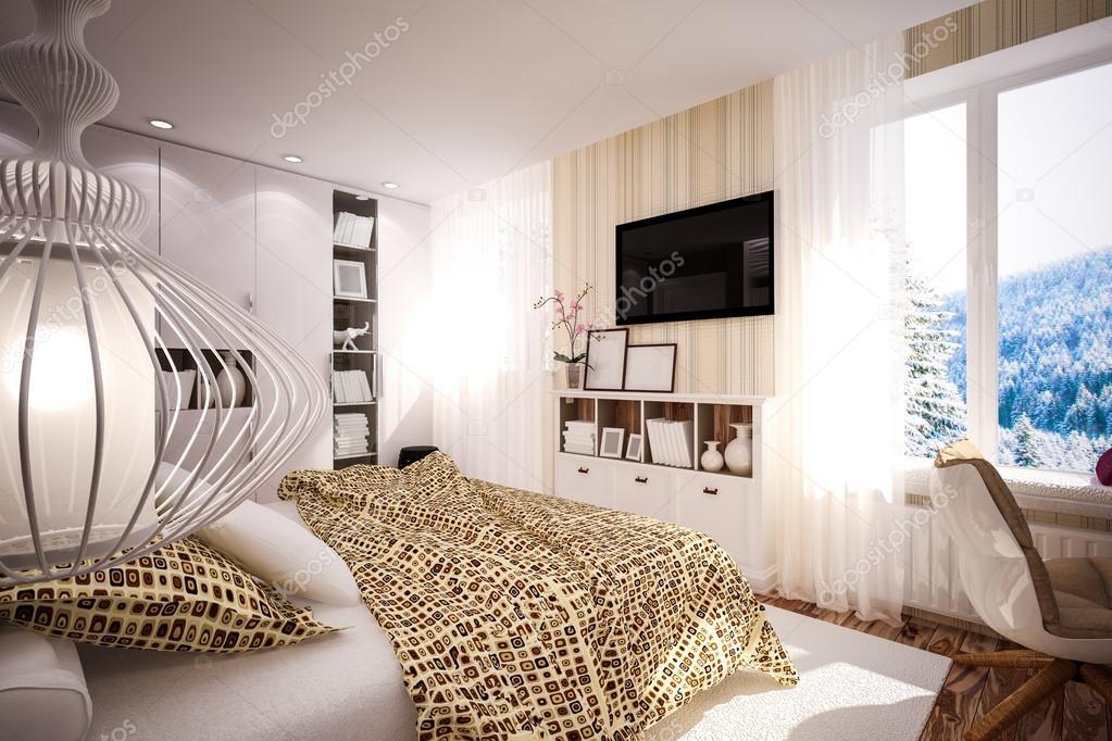 Interieur slaapkamer in moderne stijl u2014 stockfoto © podsolnukh #44713795