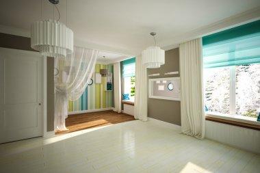 Interior room empty in modern style