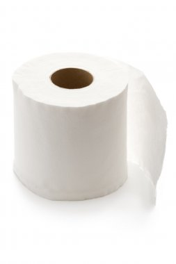 Roll of white toilet paper isolated