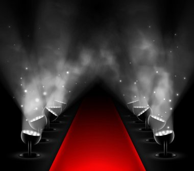 Red carpet with spotlights. Eps 10 stock vector